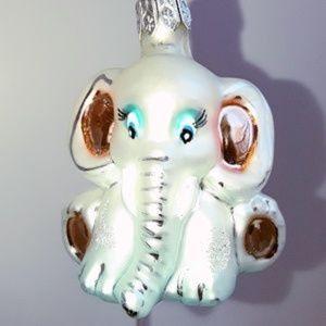 Vintage Elephant Hand-Blown Painted Glass Ornament